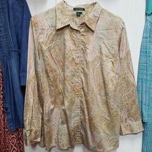 Ralph Lauren 2x light Paisley Button down shirt